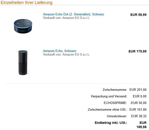 Versandbestätigung Amazon Echo